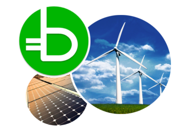 Brookline Community Choice Aggregation logo, wind and solar power